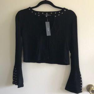 Lulus black Long Sleeve Crop Top